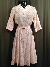 Vtg. 50's SEARS Teacher Pink Polka Dot  DRESS Church Women's Size 14 1/2