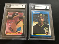 1987 Donruss Mark McGwire BGS 8 NM-MT 1987 Fleer Barry Bonds BGS 8 NM-MT 2-cards