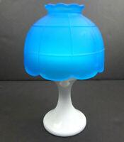 Westmoreland Unmarked Milk Glass Pedestal + Satin Blue Shade Fairy Lamp