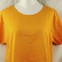 Vintage Womens Esprit Shirt T-Shirt Striped Size Large Orange White Polka dots