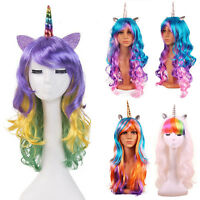 Halloween Colorful Long Curly Wig Rainbow Unicorn Gothic Cosplay Props Hair 70CM