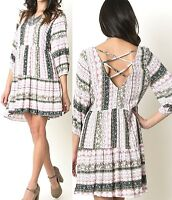 Umgee Dress Size XL S M L Mauve Peasant Tunic Shift 3/4 Boho Boutique Womens New
