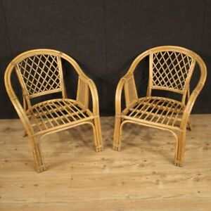Pair Of Armchairs Furniture Chairs IN Wicker Antique Style For Garden Living