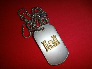US Army ENGINEER CORPS Stainless Steel Dog Tag + Ball Chain