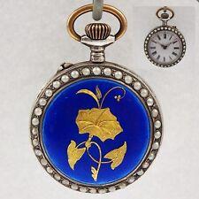 Polychrome Emaille Damen Taschenuhr mit Perlen-Besatz in 800er Silber um 1900
