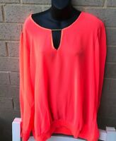 Nolita Womens Top Neon Orange Plus Sz Fall Blouse Sze 2X Long Sleeves Nwot
