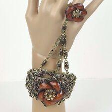 "Bracelet Ring Gold Plated Rhinestones Women Fashion Jewelry 7""L - New"