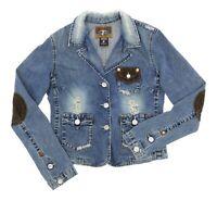 TRUE RELIGION Denim Jacket USA L Womens Corduroy Destroyed JEANS Jacket Vintage