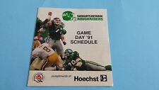 1991 CFL Saskatchewan Roughriders Schedule/Ticket Order Form***Hoechst***