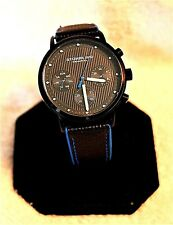 Men's Stuhrling Original Day Date 24 Hour Fabric Leather Strap Watch #123