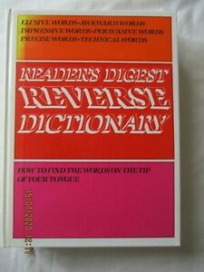 Readers Digest Reverse Dictionary Year 1989 Never Used Straight From Bookcase.
