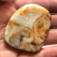 Natural Crazy Lace Agate Palm Stone Rock Crystal Healing Reiki Polished Worry St