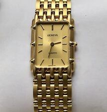 GENEVA MEN'S WATCH satin gold tone bracelet rectangular gold tone face