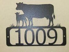 CUSTOM COW AND CALF  HOUSE NUMBER METAL ART STEEL BLACK POWDER COAT FINISH