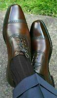 Chaussures à lacets en cuir véritable marron foncé pour hommes faits à la main