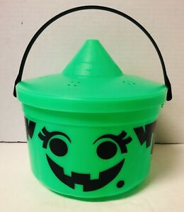 Vintage McDonalds Halloween Witch Green Bucket Candy Pail w/ Lid 1986
