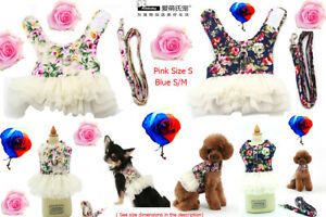 Ambaby XS Small,Medium Floral Dog Dress Harness Leash Mesh Puppy Vest Breathable
