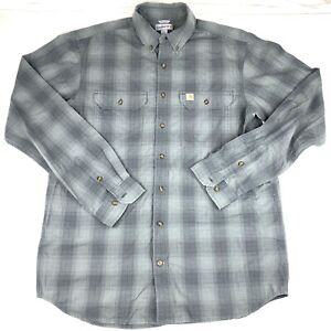 Carhartt Mens Button Front Plaid Outdoor Work Shirt Size Large Tall Gray