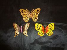 Butterfly Pins Brooch Lot of 3 Rhinestone Painted