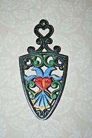 "Vintage 8"" Black Cast Iron Trivet Pot Holder #260 w/ Hand Painted Bird Decor"