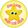 Personalised Star stickers School labels Teachers Teaching - Well Done 004