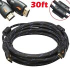 30FT GOLD HDMI v1.4 Cable w/Nylon Net Ferrite Cores 1080P 3D Ethernet HDTV DVD