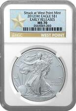 """2012 (W) SILVER EAGLE """"Struck at West Point"""" NGC MS70 EARLY RELEASES"""