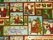 Santa's Journey Mini Block Allover Christmas Fabric by the 1/2 Yard  #23833