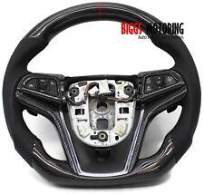 Fits 14 15 Chevy Camaro Custom Carbon Fiber & Leather Flat Bottom Steering Wheel