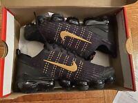 Nike Big Kids Air VaporMax Flyknit 3 Running Shoes Black/Metallic 7Y
