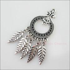 2Pcs Tibetan Silver Round Flower Leave Dangle Charms Pendants Connectors 22x51mm