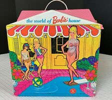 Vtg Barbie Mattel 1966 The World Of Barbie House Folding Roof Attached