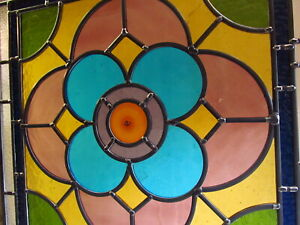 Newly crafted STAINED GLASS WINDOW PANEL Victorian design 471mm by 471mm