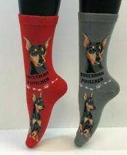 Foozys Doberman Pinscher Dog Lover Socks Ladies/Girls 2 Pairs -1 Gray + 1 Pink