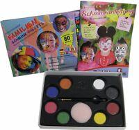 Eulenspiegel Familien Schmink Palette 8 Aqua Farben Pinsel Buch mit 19 Masken