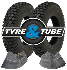 2x 4.80/4.00-8 Tyre & Tube With STAR Pattern Tread 4pr Replacement Tyres