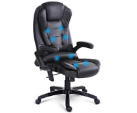 NEW 8 POINT MASSAGE EXECUTIVE PU LEATHER OFFICE CHAIR BLACK PADDED SEAT SWIVEL