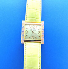 Joan Rivers Watch Gold Rhinestone Square Face Green Leather Band