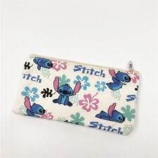 Lilo&stitch white canvas pencil pen bag handbag makeup bags cosmetic bag
