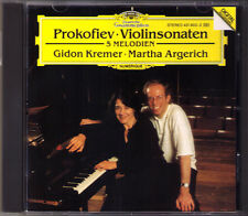 Gidon KREMER & Martha ARGERICH: PROKOFIEV Violin Sonata 1 & 2 Five Melodie DG CD