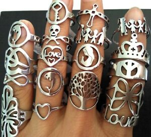50 Top mix Women Silver Stainless Steel Rings FAMILY LOVE CROSS CROWN ring