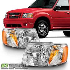 2001 2005 Ford Explorer Sport Trac Headlights Headlamps W Corner 4pcs Left Right