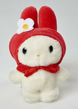 """hello kitty 6"""" tall plush Sanrio white with red hood and white flower"""