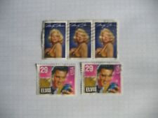 "5 timbres anciens "" USA "" Elvis & Marilyn"