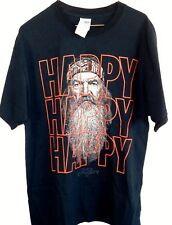 New Mens LARGE Black & Red Duck Dynasty Happy Happy Happy Phil Graphic Tee Shirt