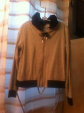 Escada Sport Velour Grey/Dark Blue Zip Up Hoodie Ladies Jacket Medium