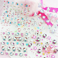 Set of 5 Self Adhesive Pink Hello Kitty Bow Heart Nail Art Stickers Decals N11B
