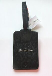 Brighton Be Wishes Luggage Tag- black- leather- mock croc- Be Adventurous