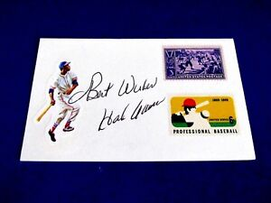 HANK AARON 1957 NL MVP HOF BRAVES BREWERS SIGNED AUTO VINTAGE INDEX CARD JSA
