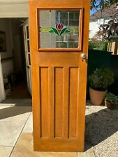 More details for 1930's interior door varnished pine with modern stained glass (double glaze)